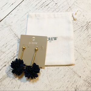 Jcrew Dangle Pom-Pom Stud Earrings Gold Navy